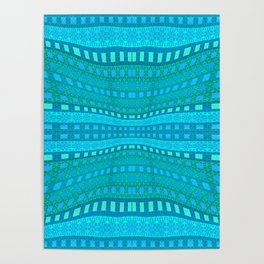 Wavy Aqua Green Intricate Stripes Poster
