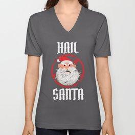 Hail Santa   Santa Claus Christmas Satan Evil Gift Unisex V-Neck