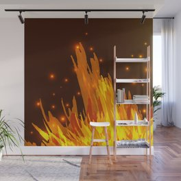 A bonfire with tongues of flame and sparks for the design of summer night ideas. For postcards and f Wall Mural