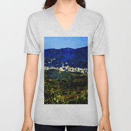 Calabria landscape with Catanzaro city and Sila mountain Unisex V-Neck