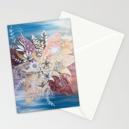 Abstract Fall Flowers Stationery Cards