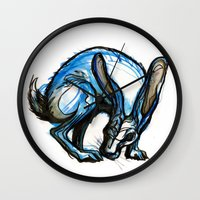 hare Wall Clocks featuring Hare by Meredith Nolan