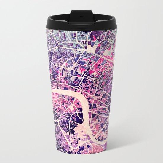 London Mosaic Map #2 Metal Travel Mug