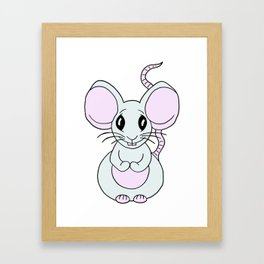 Drawn by hand a Friendly little mouse for children and adults Framed Art Print
