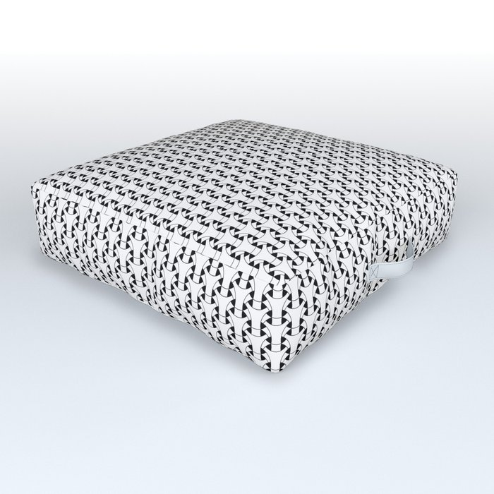 Black and White Basket Weave Shape Pattern 2 - Graphic Design Outdoor Floor Cushion