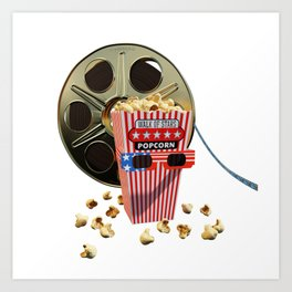 3D Movie Reel and Buttered Popcorn Art Print