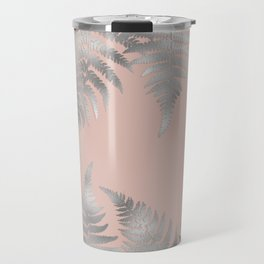 Silver fern leaves on rosegold background - abstract pattern Travel Mug