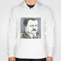ron swanson Hoodies featuring Ron Swanson by Molly Morren