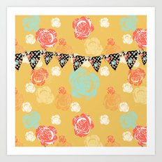 Party Banner Floral Pop Art Art Print