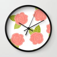 roses Wall Clocks featuring Roses by Paint Me Pink