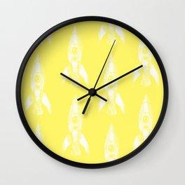 rocket in yellow Wall Clock