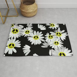 Simple Hippie Daisies with Yellow Peace Signs Rug