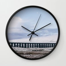 Snow and Moon over the Ribblehead Viaduct. Settle to Carlisle Railway, North Yorkshire, UK. Wall Clock