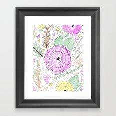 Soft Spring Floral - Digital watercolor pattern Framed Art Print