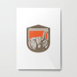 Elephant Head Looking Up Shield Retro Metal Print