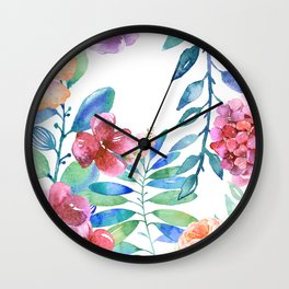 Floral Pattern on White Background Wall Clock