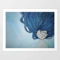 the little mermaid Art Prints featuring Little Mermaid by Grazia Vincoletto