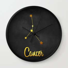 Cancer Zodiac Constellation in Gold Wall Clock