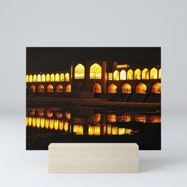 Persian Architecture Si-o-se-pol bridge at Night, Isfahan, Iran Mini Art Print
