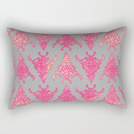 Arabesque Doodle Pattern on light grey Rectangular Pillow
