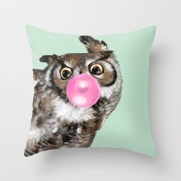 Sneaky Owl Blowing Bubble Gum Throw Pillow