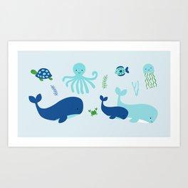 Blue Nautical Under The Sea Animals Art Print