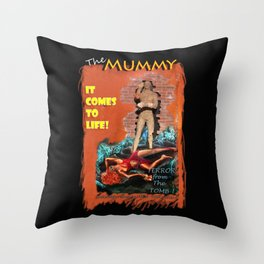Woman in the red dress meets The Mummy Throw Pillow