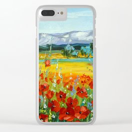 Poppy field near the mountains Clear iPhone Case