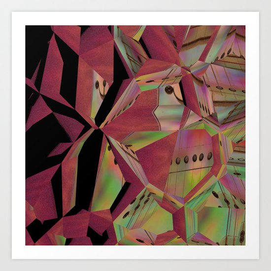 Pink Guitar Abstract Art Print