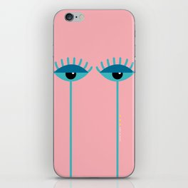 Unamused Eyes | Turquoise on Dark Peach iPhone Skin
