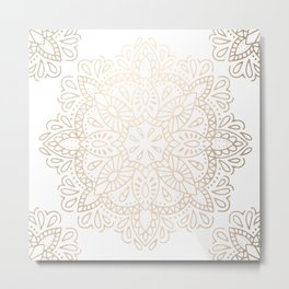 Mandala White Gold Shimmer by Nature Magick Metal Print
