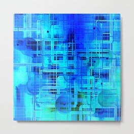 Vibrant Blue and Turquoise Line Abstract Metal Print
