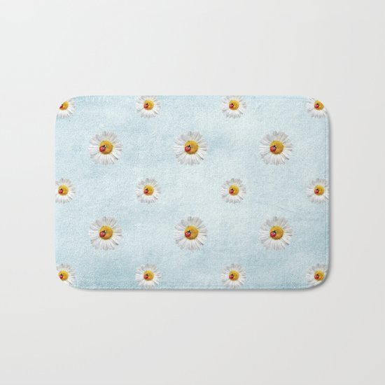 Daisies in love- lightblue pattern Bath Mat