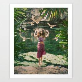Cenote Free Art Print