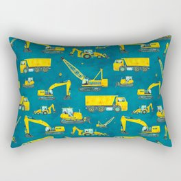 Watercolor Construction Vehicles: Dump Truck, Crane, Excavator, Bulldozer, Backhoe for Boy's Room Rectangular Pillow