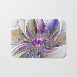 Energetic, Abstract And Colorful Fractal Art Flower Bath Mat
