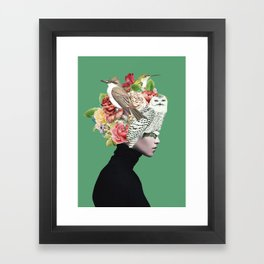 Lady with Birds(portrait) 2 Framed Art Print