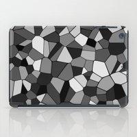 gray pattern iPad Cases featuring Gray Monochrome Mosaic Pattern by Margit Brack