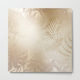 Metallic Gold Leaf Pattern Metal Print