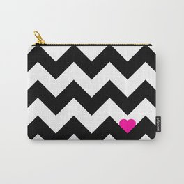 Heart & Chevron - Black/Pink Carry-All Pouch
