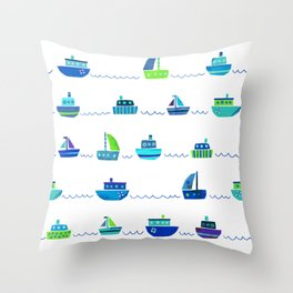 Blue Green Watercolor Boats Pattern Throw Pillow