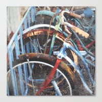 bicycles Canvas Prints featuring  BICYCLES by Encaustic Images