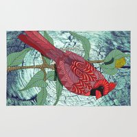 virginia Area & Throw Rugs featuring Virginia Cardinal by ArtLovePassion