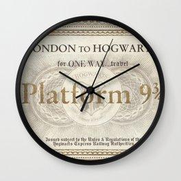 Platform 9 3/4 ticket Wall Clock