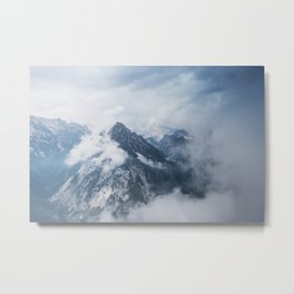 Misty mountain tops in the Alps Metal Print