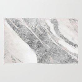 Marble - Silver Glitter on White Metallic Marble Pattern Rug