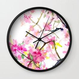 Cherry Blossom, Sakura, Japanese Floral art Wall Clock