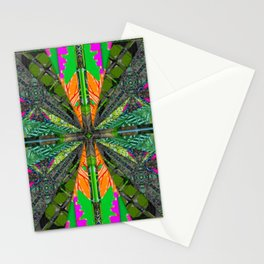 number 223 green pink yellow pattern Stationery Cards