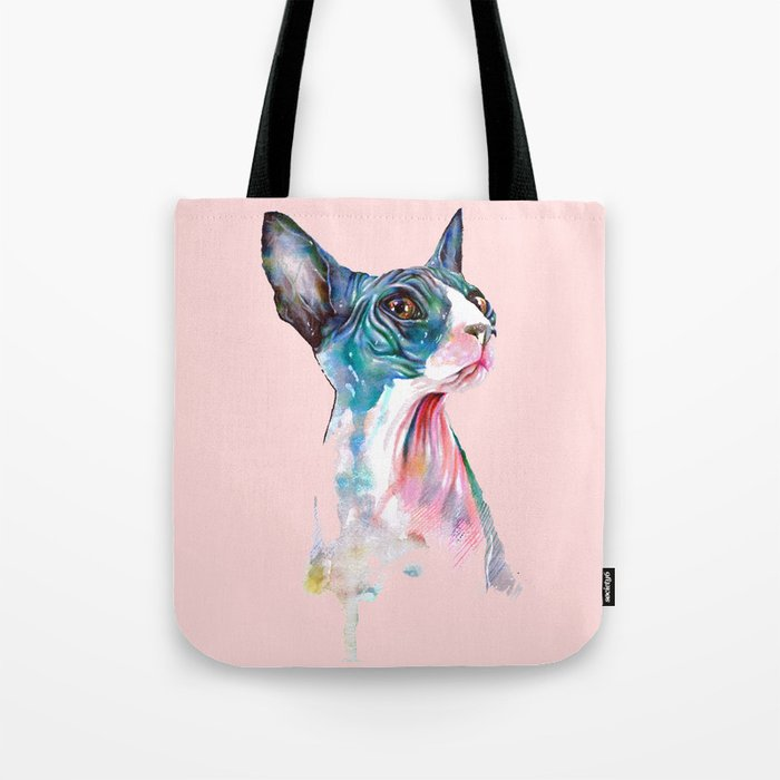 cat on pink Tote Bag