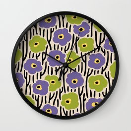 Mid Century Modern Wild Flowers Pattern Purple and Green Wall Clock